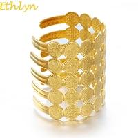 Ethlyn Large Pièce De Manchette Bracelet Femmes Bijoux Nouvelle Ethnique Arabe Du Moyen-Orient Or Couleur Bracelets Bijoux Cadeau (peut Ouvrir) B062
