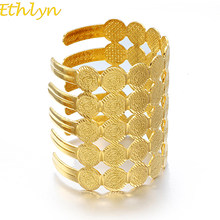 Ethlyn Wide Coin Cuff Bangle Women Middle Eastern Jewelry New Arab Ethnic Gold Color Bracelets Jewelry Gift (Can Open) B062(China)