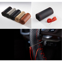 Car Steering Wheel Cover DIY Genuine Leather Cowhide Braid On With Needles Thread Car Styling Interior