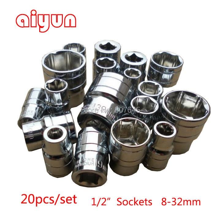 20pcs/set 1/2 (12.5mm) socket set hand tool sockets hex plug wrench bits spanner auto repair tools