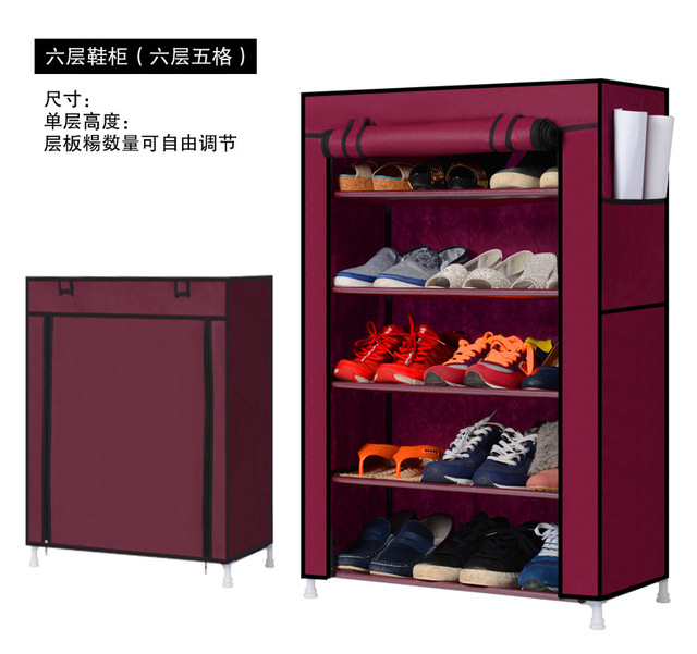 Free shipping Non-woven Shoe cabinet shoes racks storage large capacity home furniture DIY simple 5 Tier