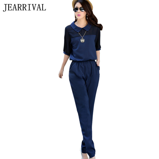 b485b3202db7 2019 New Summer Fashion Women Jumpsuit Elegant Loose Casual Overalls Black  Blue Rompers Office Work Wear Long chiffon Jumpsuits