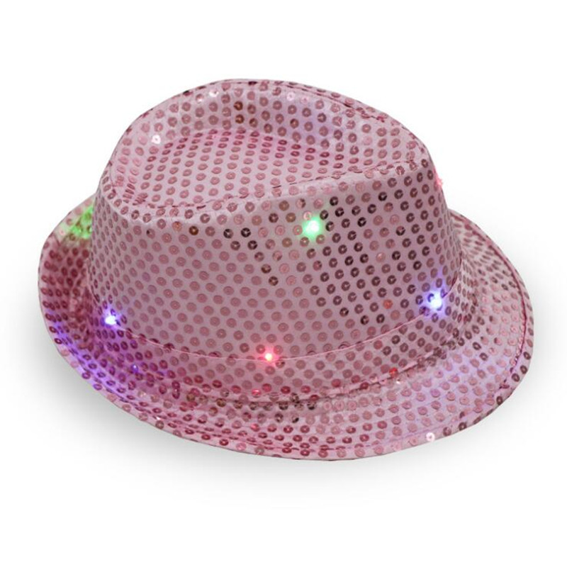 ccc6f9916 US $2.9 |Children Adult Glowing LED Flashing Sequins Jazz Hats Fedora Hat  Cap Birthday Party Show Dance Wedding Decoration Halloween-in Party Hats ...
