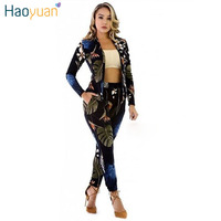 HAOYUAN Autumn Two Piece Set Tracksuits 2 Piece Outfits Woman Suit Long Sleeve Sweatshirts Hoodie Pants