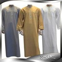2019 Casual Man Islamic Thobes Plus Size XXXL Long Jubba Thobe for Men Islamic Clothing White/Gray/Yellow Abbigliamento uomo
