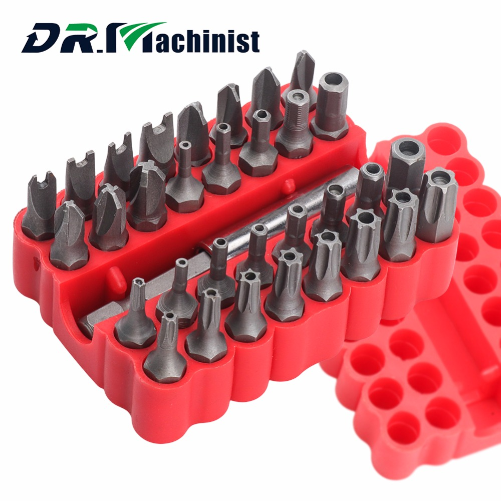 Drmachinist 33pcs Screwdriver Security Tamper Proof Bits Torq Torx Electrical Fuses On Red Box Hex Star Spanner Tri Wing