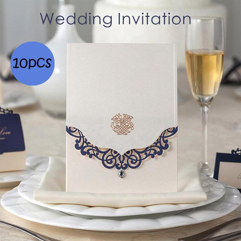 10pcs/lot Invitaion Cards Laser Cut With Diamond Card Wedding Invitation Card Birthday Party Card Elegant Wedding Invitation K3 1 design laser cut white elegant pattern west cowboy style vintage wedding invitations card kit blank paper printing invitation
