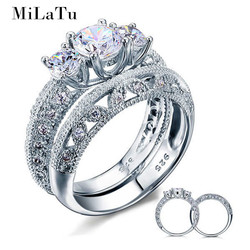 Milatu luxury 100 real 925 sterling silver wedding ring sets for women cubic zirconia engagement promise.jpg 250x250