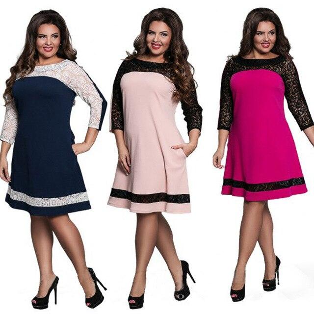 Fat MM Summer Fashion Loose Dresses Women Plus Size Patchwork Round Neck  Lace Dress Ladies Party Jurken Vestidos Women Clothing 5d6ce86915a1