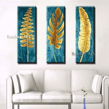 Best Aritist 3 Panel handmade Knife Gold Leafs Painting Canvas Pictures Hand Painted Abstract gold Oil Paintings Modern painting