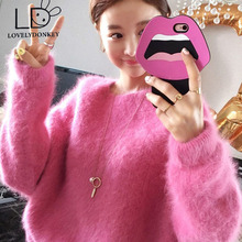 LOVELYDONKEY mink cashmere sweater women thickening pullovers knitted pure mink jacket Before long after short thickening M673