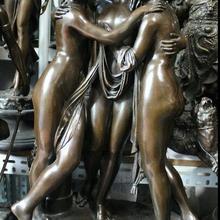 Западная бронза 3 грации обнаженные девушки богиня на мраморном Искусство Декор статуя скульптура быстро