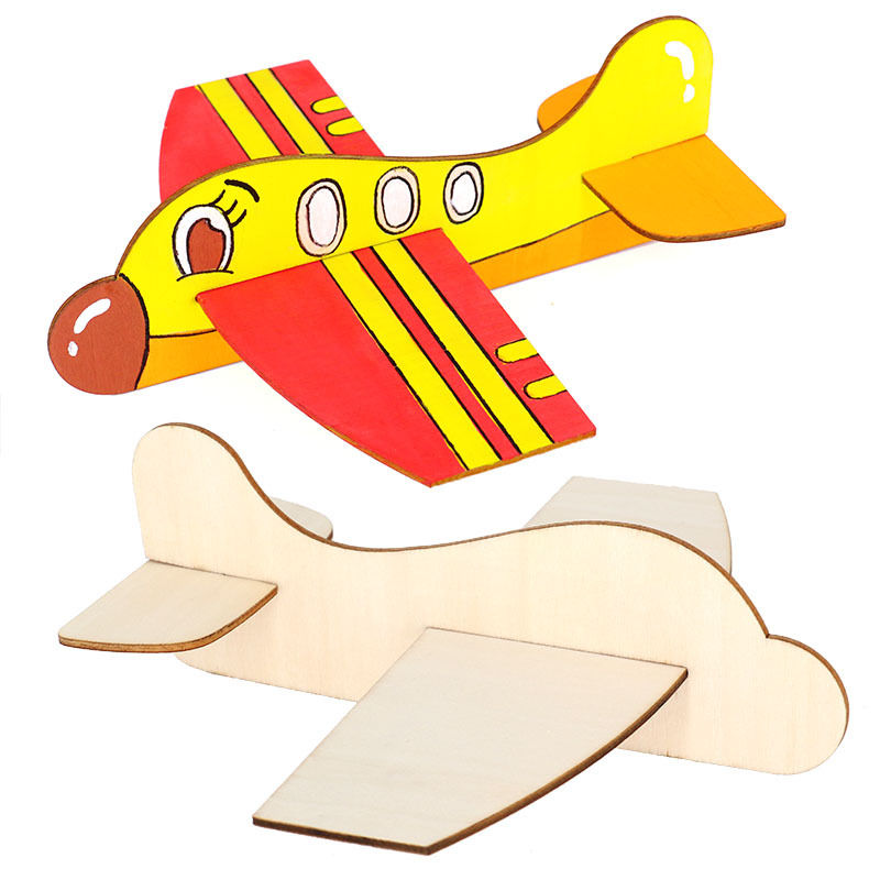 Blank Wooden Insert Puzzle Plane DIY Toy Model Kindergarten Children's Painting Graffiti Material Educational Toys