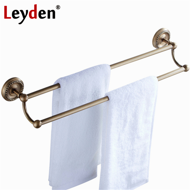 Leyden High Quality Antique Brass Double Towel Bar Toilet Towel Bar Rack Holder Wall Mount Towel