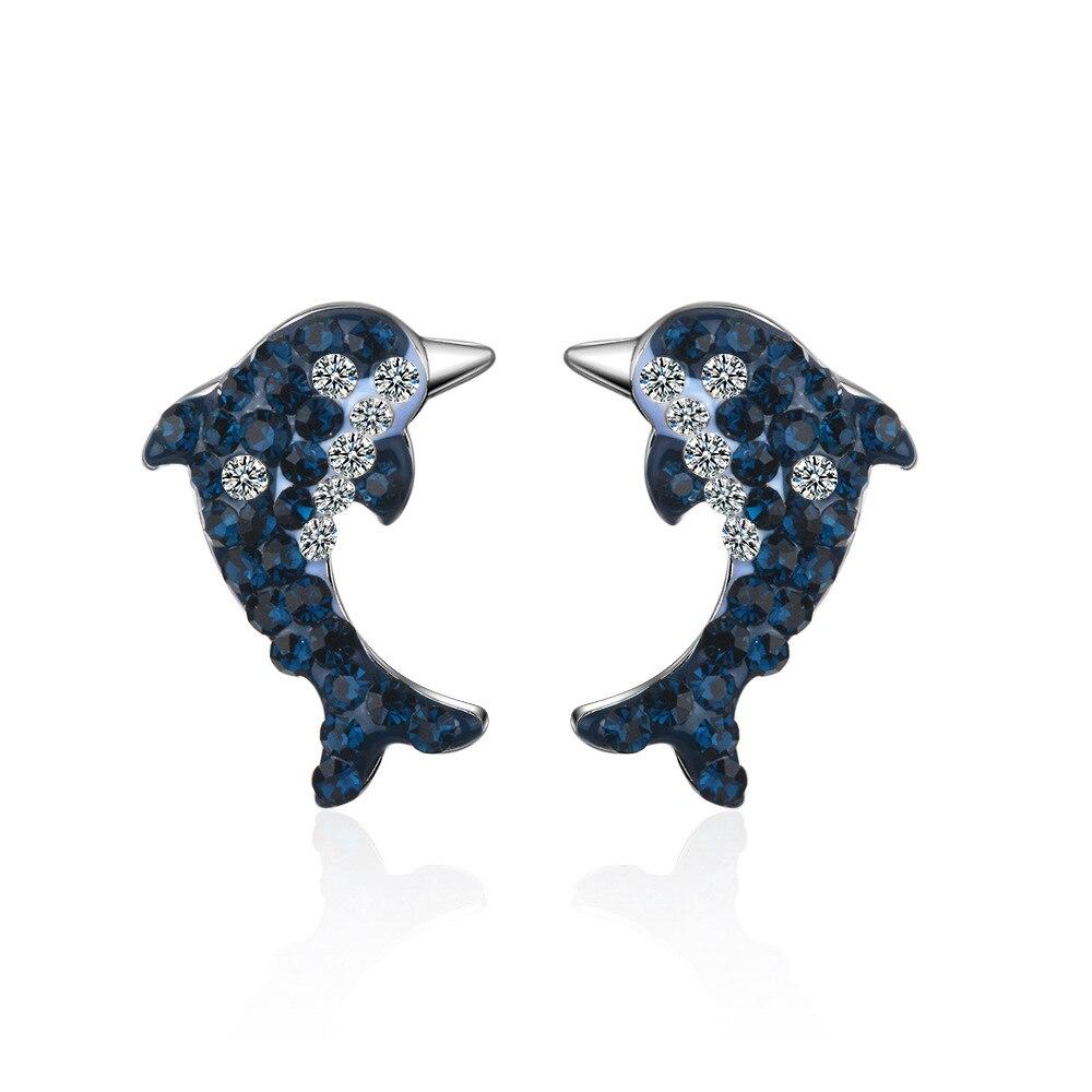 New Luxury Shine Cubic Zirconia Dolphin Animal 925 Sterling Silver Female Stud Earrings Wholesale Jewelry Women Gift No Fade in Stud Earrings from Jewelry Accessories