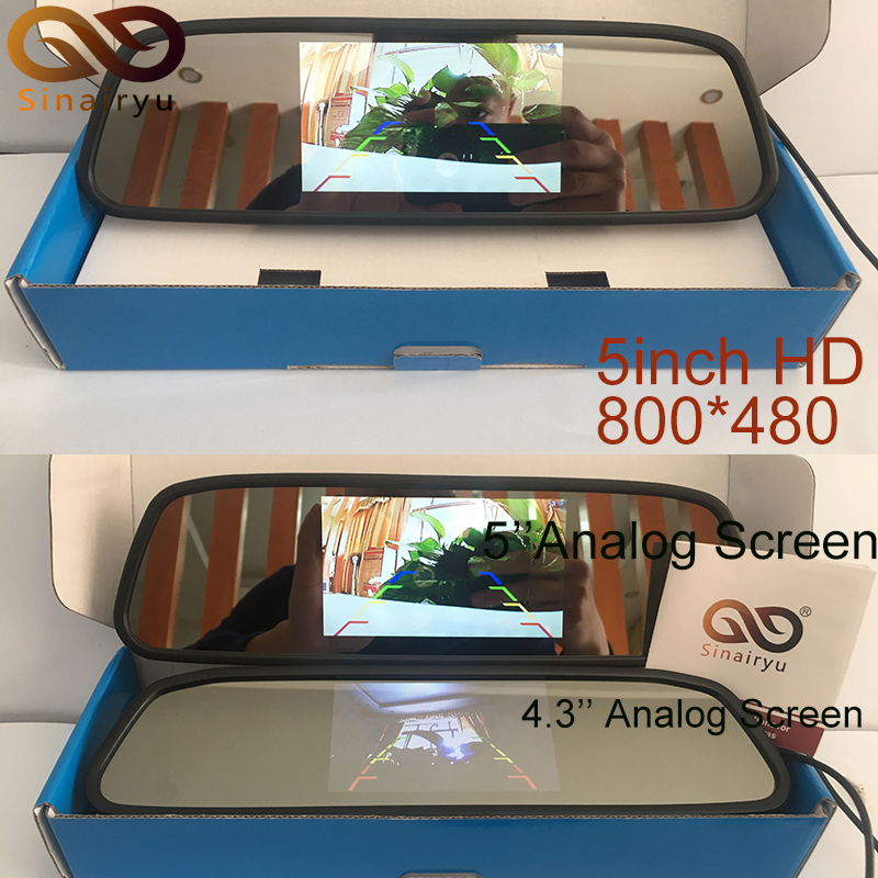 Sinairyu High Resolution 5 Inch HD Rear View Car Interior Mirror Monitor 2CH Video Input 800*480 DC 12V sinairyu hd mirror monitor 800 480 high resolution tft lcd rear view mirror screen display for backup camera two video inputs