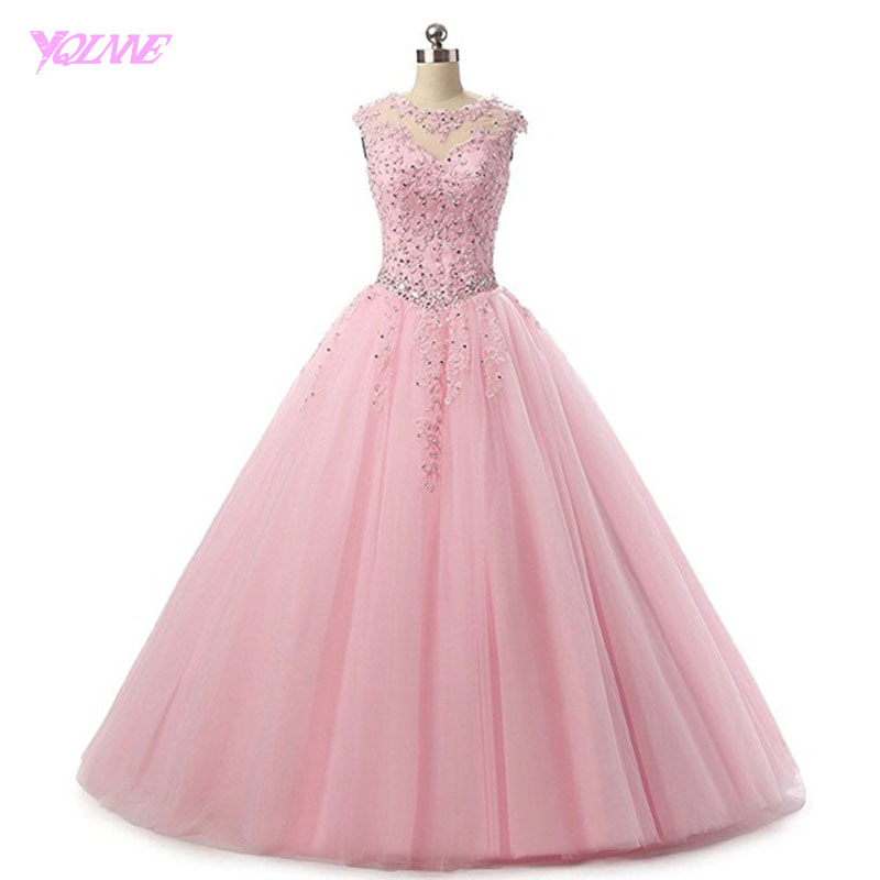 YQLNNE Pink Ball Gown Quinceanera Dresses 2018 Vestidos De 15 Anos Tulle Lace-up Sweet 16 Dress