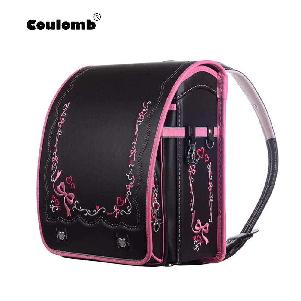 Coulomb Randoseru Children School Bag Kid PU Solid Hasp Children s Orthopedic Backpack For Girls And