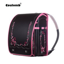 Coulomb Randoseru Children School Bag Kid PU Solid Hasp Childrens Orthopedic Backpack For Girls And Boy Japan Student