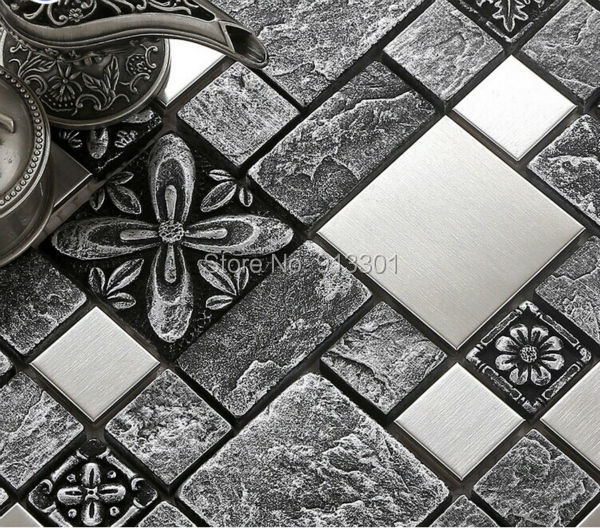 Stainless Steel Pattern Gray Glass Mosaic Tile: Gray Ceramic Tiles Brushed Stainless Steel Metal Tile