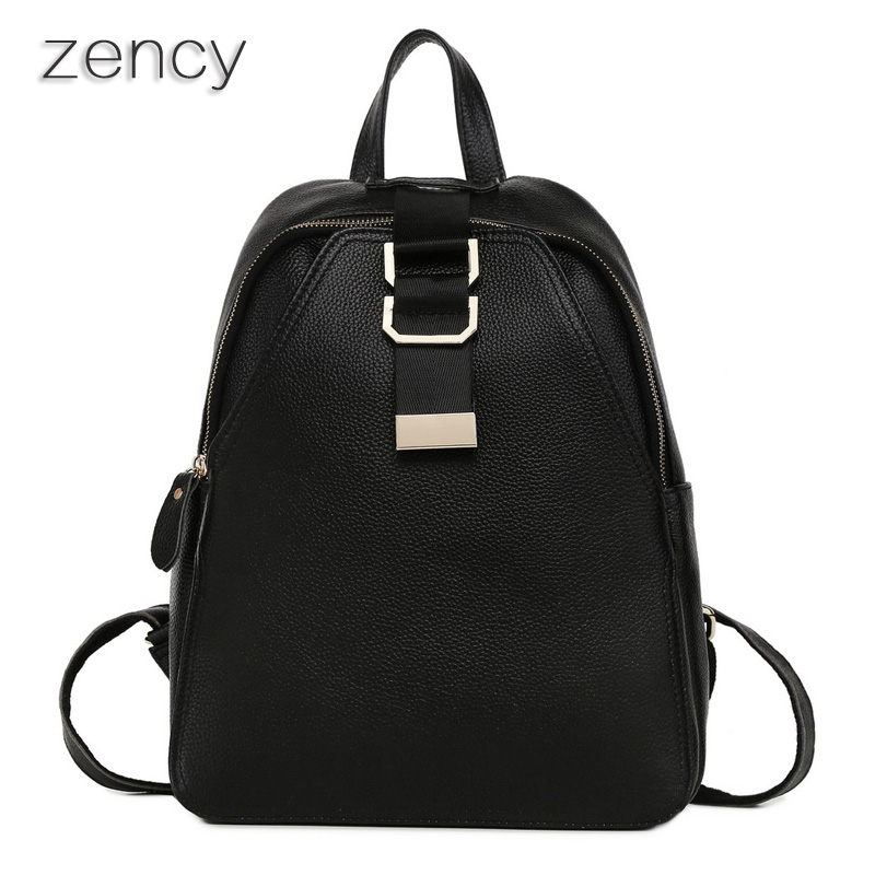 ZENCY Genuine Leather Fashion Design Women Backpack Ladies Real Leather Backpacks Fashion Girl's School Bags Ipad Bag zency fashion leather backpack real natural genuine leather women backpacks ladies girl school bag top layer cowhide mochila