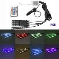 4X9SMD רכב סטיילינג רצועת אור RGB LED DRL 5050 אוטומטי שלט רחוק ערכת ערפל מנורת אווירה דקורטיבי גמישה LED הנורה