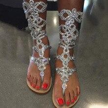 High Quality Gold silver Rhinestone knee High Flat heel Sandals Summer Women  Gladiator Sandals Sandalias Gold 5b1062ea0e18
