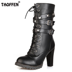 Ladies shoes women boots high heels platform buckle zipper rivets sapatos femininos lace up leather boots.jpg 250x250