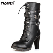 TAOFFEN Ladies shoes Women boots High heels Platform Buckle Zipper Rivets Sapatos femininos Lace up Leather