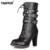 Zapatos de las señoras de Las Mujeres botas de tacones Altos Plataforma Hebilla Cremallera Remaches Lace up botas de Cuero de Moda Sapatos femininos Tamaño 34-43