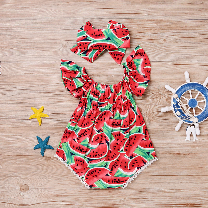 Newborn Baby Girl Clothes Watermelon Red Romper Kids Summer Casual Sleeveless Elastic Romper Jumpsuit Outfits With Hairband summer 2017 baby kids girl boy infant summer sleeveless romper harlan jumpsuit clothes outfits 0 24m