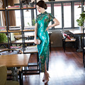 2016 Fashion Green Cheongsam Dress Designer Traditional Chinese Dress Velvet Qipao Dress Casual Oriental Dresses Modern Qi Pao