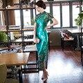 2016 Moda Vestido Cheongsam Verde Designer Vestido Tradicional Chinês Qipao Veludo Vestido Ocasional Vestidos Orientais Moderno Qi Pao