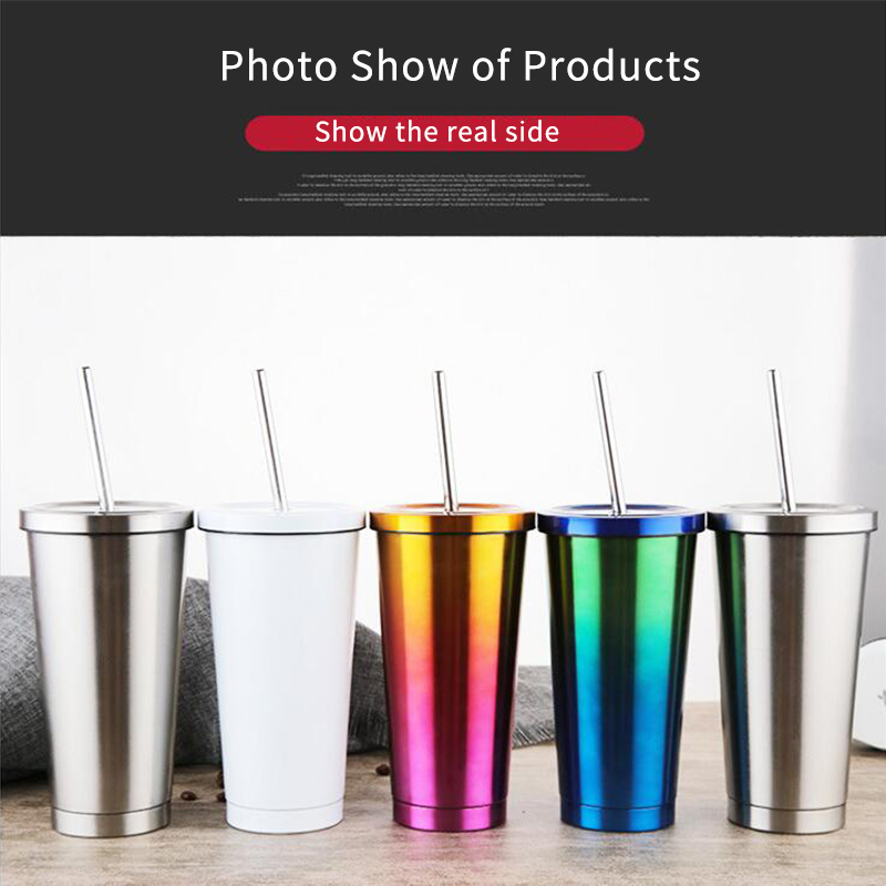 New Double 304 Stainless Steel Car coffee Cup Thermos Cup Coffee Cup Hot Water Bottle Hot Water Cup Thermometer Straw Cover