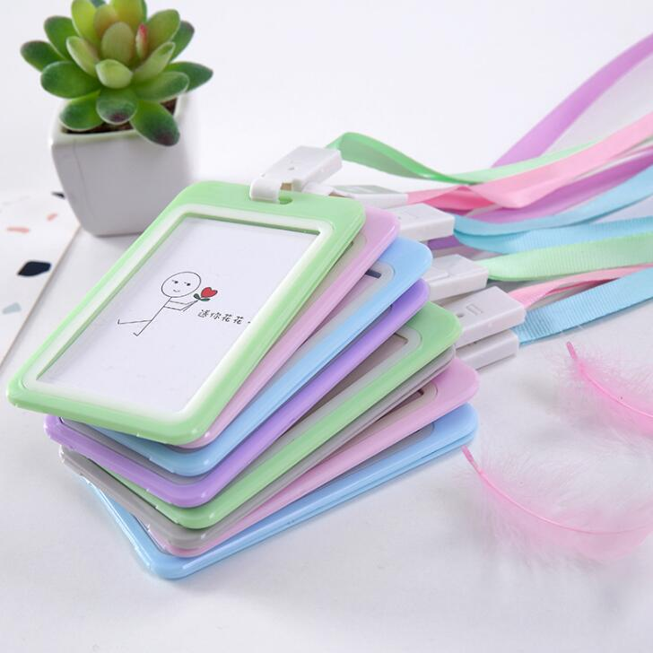 Candy Color Card Case With Lanyard Work Card Holder For Students Kids Gift