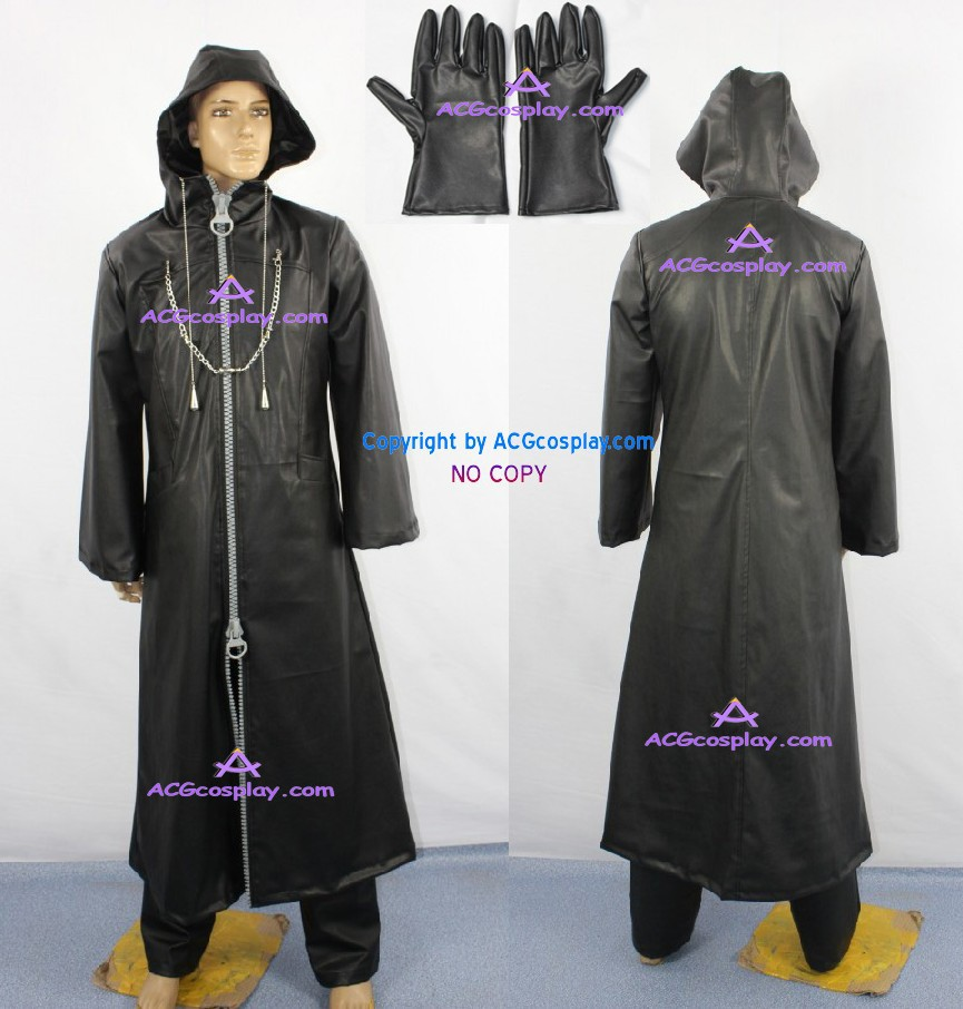 Kingdom Hearts Organization XIII Cosplay Costume faux leather made wide zipper ACGcosplay