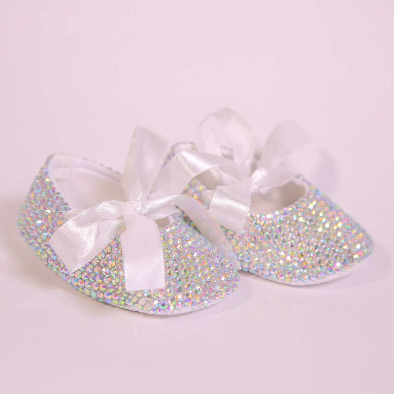 10c584bc2ca09 AB Crystal Sparkle Bling Shining White Ribbon Bow Handmade Soft Soled 0-1  Newborn Princess Baby Girl Boutique Shoes