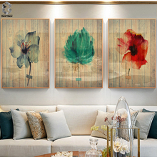 Vintage Wood Grain Canvas Posters and Prints Flowers Wall Art Painting Retro Style Picture for Living Room Home Decor