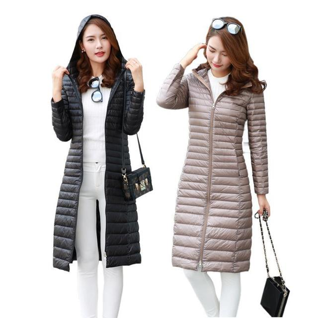 2017 New Slim Long Down Jacket Female White Duck Down Womens Hooded Ultra Light Down Jacket DQ172502