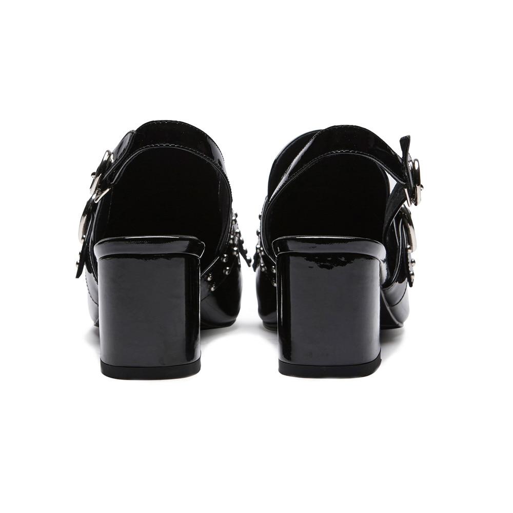 Negro rosado Verano Punta Masgulahe De Hebilla Nuevos Sandalias blanco Toe Cuero Moda Genuinos Remache Mujer Zapatos Negro Tacón Cuadrado nBFqFafw