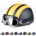 2017 New Synthetic Leather Vintage Motorcycle Cruiser Touring Open Face Half Motor Scooter Helmets & Visor & Goggles