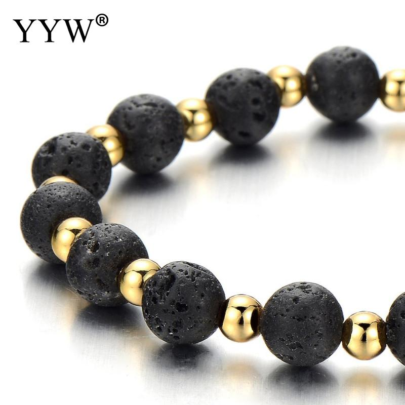 Classic Style Natural Lava Stone Bracelets for Men Unisex 8mm Beaded Bracelet 4mm Gold Color Beads Charm Bracelet Luxury Style