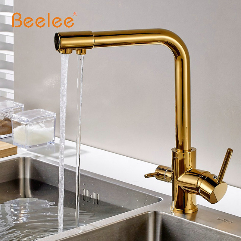 Beelee Kitchen Faucet Pull Out Deck Mounted Pull Swivel 360 Degree Rotating Cold And Hot Tap Gold Torneira Dourada Mixer Tap 305 everso kitchen faucet pull out sink mixer tap kitchen taps spray head deck mounted 360 swivel torneira de cozinha