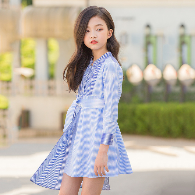 Dress for Girl Long Sleeve Striped Asymmetrical Teenage Girls Clothing age  6 8 10 12 14 years Fall Winter Kids Dress d4255907adec