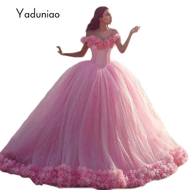 de lujo de color rosa vestidos de quinceañera balón vestido de