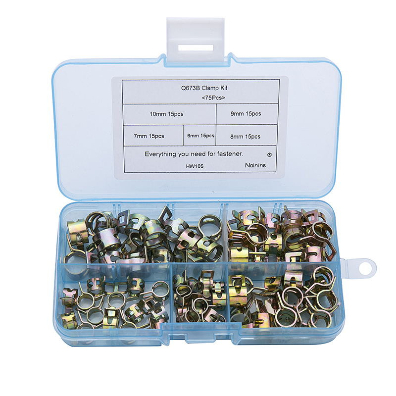 12Pcs Hose Clamps Set with Box Jubilee Clip Tool Fuel Petrol Pipe Clips Kit