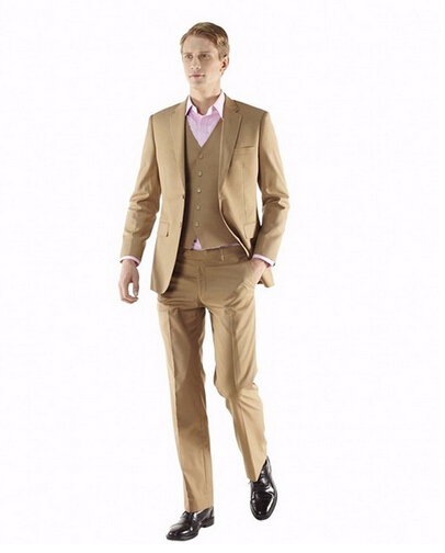 New Arrival Tailored made Mens Suits Groomsmen Khaki Notch Lapel ...