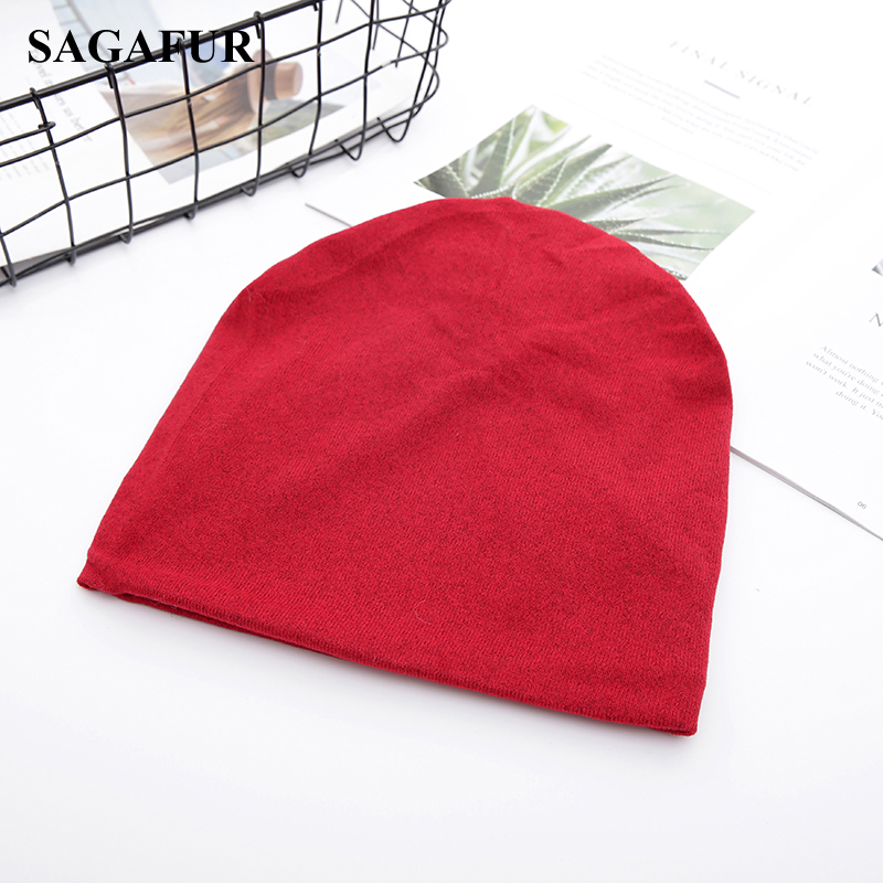 Multifunction Knitted Hat Women's Casual Plain Bonnet Cap Female Soft Polyester Baggy Beanies Spring Autumn Ponytail Beanies 3
