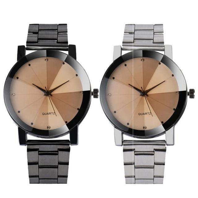 Womens Mens Quartz Watches 1 PC Unisex Diamond Clock Wrist Watch Stylish Stainle