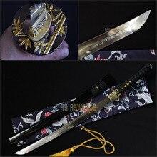 Free Sword Bag Hand Forged T10 1095 Hardening Steel Choji Hamon Clay Tempered Japanese Samurai Katana Sharp Wakizashi Sword #BBA